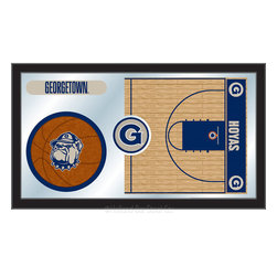"Holland Bar Stool - Holland Bar Stool Georgetown Basketball Mirror - Georgetown Basketball Mirror belongs to College Collection by Holland Bar Stool The perfect way to show your school pride, our basketball Mirror displays your school's symbols with a style that fits any setting.  With it's simple but elegant design, colors burst through the 1/8"" thick glass and are highlighted by the mirrored accents.  Framed with a black, 1 1/4 wrapped wood frame with saw tooth hangers, this 15""(H) x 26""(W) mirror is ideal for your office, garage, or any room of the house.  Whether purchasing as a gift for a recent grad, sports superfan, or for yourself, you can take satisfaction knowing you're buying a mirror that is proudly Made in the USA by Holland Bar Stool Company, Holland, MI.   Mirror (1)"