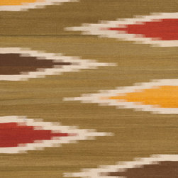 "Loloi Rugs - Loloi Rugs Santana Collection - Green / Multi, 5' x 7'-6"" - The new Santana Collection takes a modern look at traditional kilims, employing the ancient flat weave construction, but with edgy new patterns for today. Choose from eight all-wool designs that have transitional and modern appeal. Made in India andfinished with fringed ends, Santana's color application recalls today's popular Ikat designs"