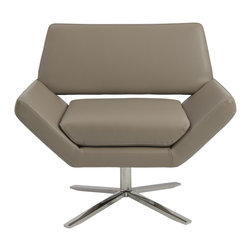 Euro Style - Euro Style Carlotta Lounge Chair X-EPT70050 - The second you sit, an orderly, angular look gives way to extremely comfortable experience. It's beautifully designed alchemy that brings together crisp geometry and that 'I'd rather not get up now' luxury.