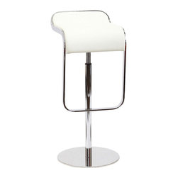 Modway - LEM Leather Bar Stool in White - The LEM Style Bar Stool has sleek lines that would be equally impressive in a restaurant or at home. Our premium version has a high quality Italian leather seat. Perfect for entertaining guests at restaurants, your home bar, or for stylish seating around the kitchen counter.