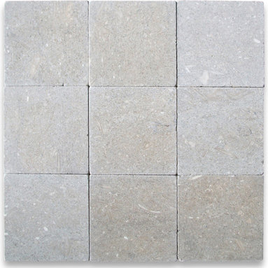 """Stone Center Corp - Seagrass Limestone Tile 4x4 Tumbled - Premium grade Seagrass Limestone tile 4"""" width x 4"""" length x 3/8"""" thickness"""