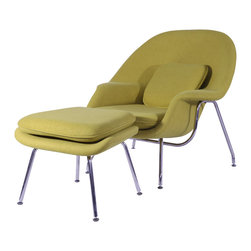 """Hampton Modern - Eero Saarinen Style Womb Chair and Ottoman Set in Aged Yellow - """"The Womb Style Lounge Chair and Ottoman offers a classic look that is incredibly comfortable due to the contouring shape, plush pillows included, and soft upholstered wool.  A great chair for reading, kicking your feet up and relaxing, or even taking a cozy nap by a fireplace, it is sure to meet your approval.  Features high quality hand stitching that will last, and stainless steel leg frame."""