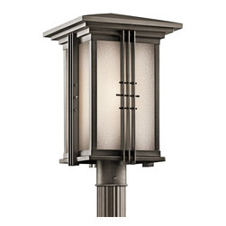 KICHLER - KICHLER 49163OZ Portman Square Arts and Crafts/Mission Outdoor Post Lantern - The Arts and Crafts inspired Portman Square collection, in Olde Bronze over solid brass or Stainless Steel, incorporates elongated rectangle-shaped Etched Seedy glass highlighted by vertical metal banding. Contrasting rod crossbars make an elegant, yet simple statement.