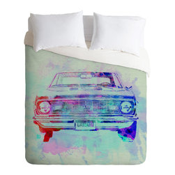 DENY Designs - Naxart Chevy Camaro Watercolor 2 Duvet Cover - Turn your basic, boring down comforter into the super stylish focal point of your bedroom. Our Luxe Duvet is made from a heavy-weight luxurious woven polyester with a 50% cotton/50% polyester cream bottom. It also includes a hidden zipper with interior corner ties to secure your comforter. it's comfy, fade-resistant, and custom printed for each and every customer.