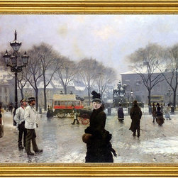 "Paul-Gustave Fischer-18""x24"" Framed Canvas - 18"" x 24"" Paul-Gustave Fischer A Winter's Day on Kongens Nytorv Copenhagen framed premium canvas print reproduced to meet museum quality standards. Our museum quality canvas prints are produced using high-precision print technology for a more accurate reproduction printed on high quality canvas with fade-resistant, archival inks. Our progressive business model allows us to offer works of art to you at the best wholesale pricing, significantly less than art gallery prices, affordable to all. This artwork is hand stretched onto wooden stretcher bars, then mounted into our 3"" wide gold finish frame with black panel by one of our expert framers. Our framed canvas print comes with hardware, ready to hang on your wall.  We present a comprehensive collection of exceptional canvas art reproductions by Paul-Gustave Fischer."