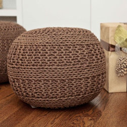 Mocha Pouf - What's a Pouf?  The newest and hottest designer accent! Use it as a stylish foot stool, a handy seat for the kids, or pair it with a small tray to act as a side table.  Stylish cotton weave allows for easy pairings in a variety of settings.