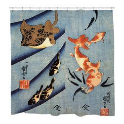 """Sharp Shirter - Stingray Shower Curtain - """"This curtain is printed in USA!. Hooks sold separately. Disclaimer: If you order multiple items, they may ship from separate locations."""""""