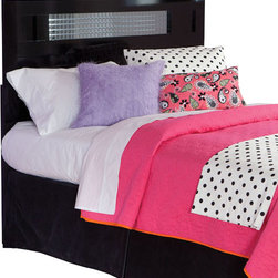 Standard Furniture - Standard Furniture Marilyn Headboard with Mirrored Inset in Glossy Black - Twin - For a bit of girly glam, Marilyn offers trendy modern styling in shiny black with jeweled hardware and sparkling mirrored tiles for a bit of bling.