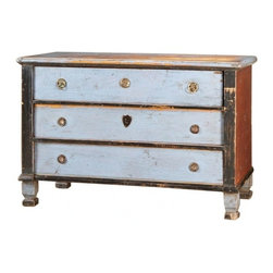 EcoFirstArt - Swedish Chest - Bring a piece brimming with Scandinavian, folksy charm into your home. This multipurpose chest, angular in design and distressed for an antique feel, boasts a patchwork of colors, mismatched hardware on the three drawers and delightfully angled feet. This sturdy fixture will thrive as a console or sideboard while infusing the room with a welcoming, rustic appeal.