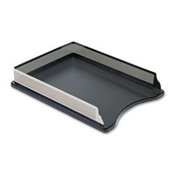 Rolodex - Distinctions Self-Stacking Letter Desk Tray, Metal/Black - Contemporary desktop accessories feature a combination of punched metal and polished wood, creating a look that's right for any office setting. Nonskid feet protect desktop. Front loading. Letter size trays can stack on top, without supports. Desk Tray Type: Front Load; Holds Paper Size: Letter.