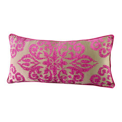 14 Karat Home - Cameron Pillow - The oversized jacquard chenille combination on the front of this pillow produces a Moroccan inspired medallion print that will spice up any room. The pillow is  backed with pink chenille to match the front of the pillow.