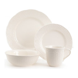 Red Vanilla - Red Vanilla Nantucket 16-piece White Dinner Set - Add texture to your table setting with this charming dinnerware set. Finished in a creamy white glaze,this dishwasher-safe set features a unique basket weave embossed design and includes service for four people.