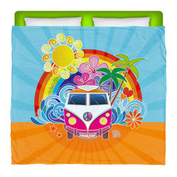 "Eco Friendly Made In USA ""Peace Bus"" Surfer Bedding King Comforter - Take A Ride and Peace Out in our King Size ""Peace Bus"" Premium Comforter From Our Surfer Bedding Bed and Bath Collection."