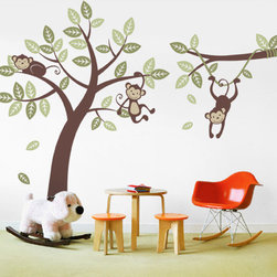 Three Monkey Tree and Branch Vine - The cute and cuddly monkeys will always put a smile on your child's face. Each monkey and leaf decals can be placed anywhere you wish. So be creative!
