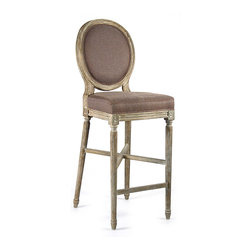Medallion Bar Stool - Limed Grey Oak with Aubergine Linen - Evoke the traditional in your space by coordinating an uptown favorite furnishing, the tall, space-saving barstool, with your heirloom French furniture and home d�cor.  With the Medallion Bar Stool, a re-imagining of a classic cameo-backed wooden side chair in cerused oak, plush and elegant seating comes to the bar or counter, offering a graceful alternative to the more common, angular geometry.
