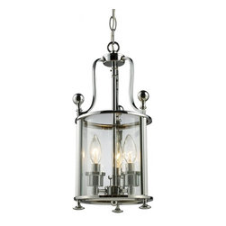 Three Light Chrome Clear Glass Foyer Hall Pendant - With traditional styling and modern application this three light mini-chandelier is as versatile as it is stunning. Glass panels form the circular cage that is suspended from swooping arms, which are finished in chrome. Suspended inside are candelabra lights that can be accented with your choice of crystal and chrome finials, as both are included.