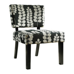 "PWL741-607 - Black & Cream Floral Oliver Accent Chair - Black & Cream floral Oliver Accent Chair.  The Oliver Accent Chair is the perfect addition to a transitional designed space. Crafted for long-lasting comfort, the Oliver chair features dark brown finished straight legs and slightly curved back legs, as well as a plush seat and chair back. A transitional black and cream floral print graces the body of the piece. Functional and comfortable, this piece is the perfect addition to any homes decor. Upholstery is a mixed 65% poly and 35% rayon blend. Some assembly required.  Chair measures:  26-3/4"" x 27-1/2"" x 33-7/8"" tall, Seat Height: 18-1/2"".  Fabric - 65% polyester, 35% rayon, Polyurethane Foam."