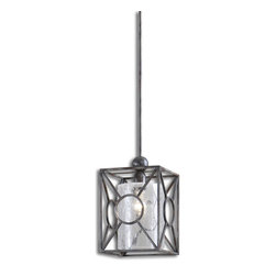 Uttermost - Uttermost Arbela 1 Light Mini Pendant - 1 Light Mini Pendant belongs to Carolyn Kinder Collection by Uttermost Rust Black Metal With A Crackled Glass Cylinder Inner Shade. Mini Pendant (1)