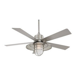 Minka Aire F582-BNW Rainman 54 in. Indoor / Outdoor Ceiling Fan - Brushed Nickel