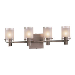 Minka George Kovacs - Minka George Kovacs Chimes 4-Light Antique Nickel Clear/Acid Etched Glass Vanity - This 4-Light Vanity is part of the Chimes collection and has an Antique Nickel finish and Clear/acid Etched glass.