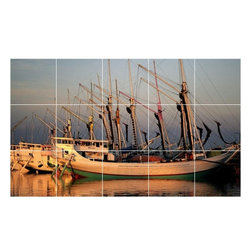 Picture-Tiles, LLC - Boat Ship Picture Kitchen Bathroom Ceramic Tile Mural  24 x 40 - * Boat Ship Picture Kitchen Bathroom Ceramic Tile Mural 1227