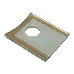 Renovators Supply - Faucet Parts Amber Glass Square Faucet Plate - Replacement Tempered Glass Waterfall Faucet Plate that fits our SQUARE BASE waterfall faucet only #16485. Mix & Match your faucet with our selection of tempered  Glass Vessel Sinks!!