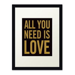 Keep Calm Collection - All You Need Is Love, black frame (black and gold) - This item is an Art Print which means it is a higher-quality art reproduction than a typical poster. Art prints are usually printed on thicker paper, resulting in a high quality finish. This print is produced on a 270 gsm fine art paper stock.