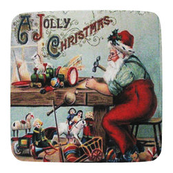 Golden Hill Studio - Jolly Workshop Coaster, Set of 4 - This is a wonderful antique print on a super absorbent neoprene coaster.  Made, printed and assembled in the USA!