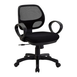 "LexMod - Panorama Office Chair in Black - Panorama Office Chair in Black - Take on new heights from the sprawling form of the Panorama chair. Dont let the compact nature of the chair fool you. Its a pleasure to sit in both for your posture and full-breadth visibility of your surroundings. Panorama is made of a molded hard plastic frame, mesh back and padded seat with height adjustment, full 360 degree swivel, and a tension knob to personalize the backward tilt. The base comes with five dual-wheel casters that easily glide over carpets or hardwood floors. Functionally sound with sweeping curves, this is a chair made just right for you.br /Set Includes:br /One - Panorama Office Chair Hard plastic frame, Mesh back, Padded foam seat, 5 dual-wheel casters, Easy to assemble Overall Product Dimensions: 18.5""L x 22.5""W x 35 - 38.5""H Seat Dimensions: 19.5""L x 18.5 - 19.5""W x 18.5 - 22""H Armrest Dimensions: 1.5""W x 25 - 28""H Base Dimensions: 20.5""L x 24""W Armrest Height from Seat: 7""H Backrest Height: 17.5 - 21""H Cushion Thinkness: 2""H - Mid Century Modern Furniture."