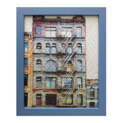 "Study For Gotham Windows 1435, Original, Mixed Media - ""digitally manipulated photography, pigment printing on silk, hand quilting, gallery wrapped on stretched canvas, framed"""