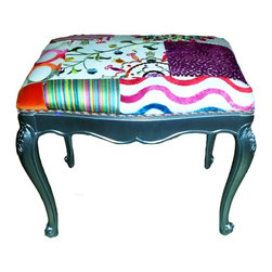 Vintage - Consigned - Vintage Adler Stool - Vintage stool has been re-upholstered in modern fabric sewn in patchwork design. Silver wood base with cabriole legs.