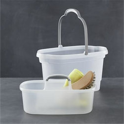 Casabella® 2-Piece Bucket and Storage Caddy Set - Clean, modern utility essentials in white polypropylene with contoured grey handles. Generous bucket has measurement calibrations, extra carrying grips on both ends, and channels in the base which allow dirt to settle, keeping water cleaner. Bucket nests perfectly with storage caddy to keep cleaning supplies handy (see additional photos). Caddy can be used separately for craft, garden and shower accessories.