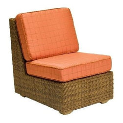 Woodard - Domino Wicker Lounge Chair (Thayer) - Fabric: Thayer. With cushions. Inhibitors added to prevent mildew growth and fading from the sun (UV stabilized. Stretch resistant - unsurpassed tensile strength resists sagging or stretching. Soil and scratch resistant - protected against soiling and abrasion from normal usage. Easy to maintain with a solution of water and mild detergent. Made from wicker. Seat height: 18 in. H. 35 in. W x 25.5 in. D x 34 in. H (35 lbs.). All products are made to order. Orders cannot be cancelled after 5 calendar days. If order is cancelled after 5 calendar days, a 50% restocking fee will be appliedIdeal for outdoor dining, this armless lounge chair makes a great addition to your casual living arrangement. Durable aluminum frame is covered with high quality, hand woven wicker - an unbeatable combination of all weather value. Soft seat & back cushions included.