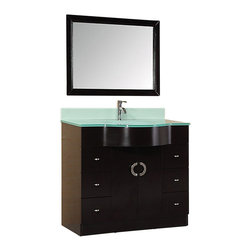 """Design Element - Aria 40"""" Single Sink Vanity Set in Espresso - An aqua-colored tempered glass countertop seamless oval integrated sink stylized handles and dark espresso cabinet give the Aria 40"""" vanity a look that is not quite as Spartan as some modern designs tend to be yet still slick and contemporary. This set retains all the quality and functional design elements that our vanities are known for such as quality wood construction a water-resistant finish tempered glass soft-closing double doors and a chrome pop-up drain. Included is a matching framed mirror."""