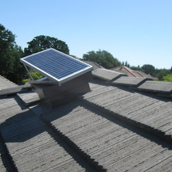Sun Glo on your roof - 20 watt Vortex solar attic fan on a tile roof