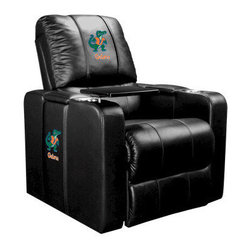 Dreamseat Inc. - University of Florida NCAA Albert Home Theater Plus Leather Recliner - Check out this Awesome Leather Recliner. Quite simply, it's one of the coolest things we've ever seen. This is unbelievably comfortable - once you're in it, you won't want to get up. Features a zip-in-zip-out logo panel embroidered with 70,000 stitches. Converts from a solid color to custom-logo furniture in seconds - perfect for a shared or multi-purpose room. Root for several teams? Simply swap the panels out when the seasons change. This is a true statement piece that is perfect for your Man Cave, Game Room, basement or garage. It combines contemporary design with the ultimate comfort from a fully reclining frame with lumbar and full leg support.