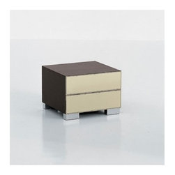 Cattelan Italia - Dandy Nightstand | Cattelan Italia - Made in Italy by Cattelan Italia.Perfect for any style bedroom, the Dandy 2 drawer Nightstand features a leather upholstered front with wooden frame. Its stainless steel feet ground the best of natural textures and sophistication of geometric shapes. Select from a variety of wood and leather combination to customize this piece to your exact specifications. Two spacious drawers store all your clothing and accessories in style with the Dandy Nightstand.