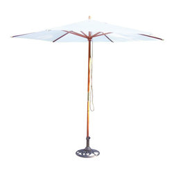 Oakland Living - Oakland Living 9 Ft Market Umbrella with Crank-White - Oakland Living - Patio Umbrellas - 4001WT -About This Product: