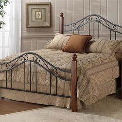 Hillsdale Furniture - Madison Walnut Poster Bed w Metal Grill (Twin - Choose Size: TwinWith curved decorative features and Walnut bedposts this Madison textured Black finish bed is a quality piece, sure to add some subtle elegance to any bedroom. It has a sturdy metal frame, Take your choice of Full, Queen or King size. This Walnut Poster Bed with Metal Grill and frame features scrolled detailing in textured black that contrasts beautifully with the rich Walnut finished bedposts. The bed comes in Twin, Full, Queen & King sizes and includes a Satin Beige finished frame. * Satin Beige finish frame included. Mattress not included. Metal grills & frame. Walnut finish posts. 2.5 in. post. Textured Black finish. Twin/Full:. Headboard: 50.5 in. H / Footboard: 32.5 in. H. Frame: 76 in. L x 54 in. W (4 legs). Queen:. Headboard: 50.5 in. H / Footboard: 32.5 in. H. Frame: 83.5 in. L x 78 in. W (6 legs). Queen/King:. Headboard: 78.25 in. W x 59 in. H. Footboard: 78.25 in. W x 36.5 in. H. Frame: 83.5 in. L x 78 in. W(6 legs)Popular combination of wood and iron elements make this a great design. Square solid wood posts are combined with Black metal bed grills that feature Rround twisted wire spindles.