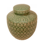 "n/a - 12"" H Oriental Celadon Ginger Jar in Carved Turtle Design. - Simple and elegant best describes this Ming-shaped porcelain Celadon carved ginger jar from China. The arabesque hand glazed celadon green is almost jade-like in appearance. This jar is uniquely carved with a turtle shell shape design and comes with a removable lid. Both the lid and the top rim have their own hand drawn design. Add a 6.5"" rosewood vase stand to enhance the art piece. This jar is water tight, made of impervious porcelain and kiln fired celadon crackle glazing for years of admiration."