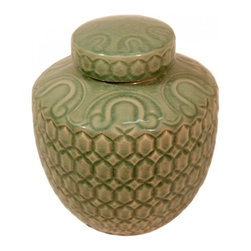 """n/a - 12"""" H Oriental Celadon Ginger Jar in Carved Turtle Design. - Simple and elegant best describes this Ming-shaped porcelain Celadon carved ginger jar from China. The arabesque hand glazed celadon green is almost jade-like in appearance. This jar is uniquely carved with a turtle shell shape design and comes with a removable lid. Both the lid and the top rim have their own hand drawn design. Add a 6.5"""" rosewood vase stand to enhance the art piece. This jar is water tight, made of impervious porcelain and kiln fired celadon crackle glazing for years of admiration."""