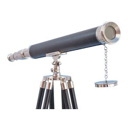 "Handcrafted Model Ships - Chrome/Black Harbor Master Telescope 60"" - Chrome Telescope - The Hampton Nautical Chrome/ Black Harbor Master Telescope 60 is a beautiful refractor telescope mounted on a chrome/ black tripod. This telescope is a fully functioning nautical masterpiece, adding class and sophistication to any room it graces, with a main scope of solid polished chrome that shines elegantly in the sunlight. Focusing is accomplished by adjusting the eyepiece ring on the telescope tube, with up to 15x magnification. A removable chrome cap, connected by a chain, protects the objective lens when not in use. The tripod stand features smooth, polished legs, each with solid chrome fittings and a screw release to let you adjust the height. A solid chrome chain holds the three wooden legs together so the telescope can maintain its position. Dimensions: 60 inch H x 25 inch W x 32 inch L 15 x Magnification"