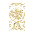 Frontgate - Set of 24 Caspari Romantic Toile Paper Linen Guest Towels - 100% thick and absorbent paper linen with water-based dyes. Printed on FSC certified paper. All packaging is recyclable. Towels arrive in a beautiful gold gift box. Personalize with a single monogram letter (excluding I, O, Q, U, V, X, Y, or Z). Add an elegant touch to your guest bath with our ethereal Set of 24 Caspari Romantic Toile Guest Towels. The Toile design is reproduced from a museum's original collection of textile designs. Printed using non-toxic, water-soluble dyes, these paper linen towels have the look of linen with a thicker, plusher, more luxurious feel. Emblazoned with a single initial, these gold towels are 100% biodegradable and compostable, combining convenience with sustainability.  .  .  .  .  .