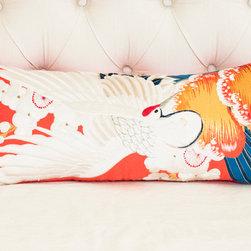 WHITE CRANE Pillow | Kimono No. 1 - Size: 24 x 9 inches
