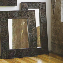Vintage Woodprint Mirrors - The frame of this gorgeous mirror is actually constructed if vintage woodprint blocks.  Woodprint blocks vary in their shade/coloring and no two will be exactly alike, due to the unique blocks used in their construction.