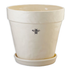 Ceramic Bee Planter - Vintage touches of Napoleonic style lightly detail the creamy walls of the simple Bee Planter, an elegant addition to a kitchen windowsill or patio garden which draws on antique motifs to create an eclectic, restrained appeal.  The alluring planter is a simple eight-inch pot in the classic flared shape; a matching saucer is included for effortless and perfect coordination.