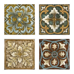 """IMAX CORPORATION - Casa Medallion Tiles - Set of 4 - Set of four decorative Casa Medallion tiles with colorful embellishments. Comes in various sizes measuring around 15""""L x 10.75""""W x 11.25""""H each. Shop home furnishings, decor, and accessories from Posh Urban Furnishings. Beautiful, stylish furniture and decor that will brighten your home instantly. Shop modern, traditional, vintage, and world designs."""