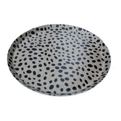 """Spotted Ottoman Tray - Serve your favorite appetizers in this funky 21"""" round melamine tray. This spotted pattern is one of my favorites."""