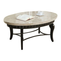 "Acme - Lorencia Oval White Beige Marble Top Coffee Table with Metal Scalloped Edge - Lorencia oval white beige marble top coffee table with metal scalloped edge and legs. Coffee table measures 47"" x 31"" x 20""H. Sofa table and end table sold separately. Some assembly required."