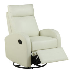 Monarch Specialties - Monarch Specialties Swivel Rocker Recliner Chair in Ivory - This contemporary design accent chair combines 3 functional elements... it swivels... it rocks... and it reclines, ensuring that you are always in a comfortable position. This dark brown bonded leather chair with a padded head rest was designed for ultimate comfort. Whether reading a book or watching sports this will be the chair that everyone will want to sit on. The easy glide motion and the contemporary design makes it a chic and fashionable addition for your den, bedroom, living room or basement. It truly is a chair for any room in your home. What's included: Recliner (1).